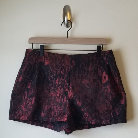 Lucca Couture Pants - Red & Black Snake Print Shorts by Lucca Couture